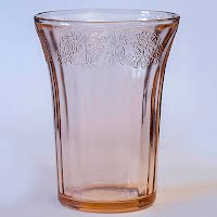 Antique Depression Glass Pink Vegetable Glass or tumbler, 1930's