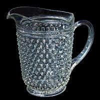 Vintage Depression Glass Hobnail Water Pitcher