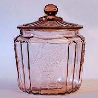 Antique Depression Glass Pink Mayfair Rose Cracker Jar, 1930's
