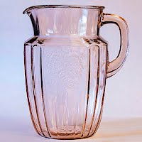 Antique Depression Glass Pink Mayfair Rose Water Pitcher, 1930's
