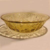 Antique Depression Glass Sharon Amber Large Fruit Bowl