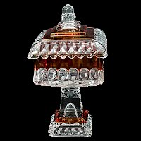 Vintage Westmoreland Crystal Wedding Covered Compote, ruby stained