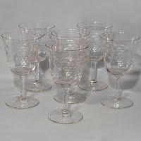 Vintage Crystal goblets with grape etching