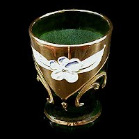 Vintage Murano Green Glass with gold and enamel