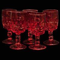Vintage Georgian Ruby Red Winet Glasses, Viking Glass