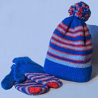 Vintage Hand Knit Blue with Stripes Hat and Matching Mittens