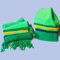 Vintage Hand knit Green with Yellow Hat and Scarf