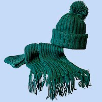 Vintage Hand Knit Dark Green Hat and Scarf