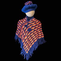 Vintage Hand Knit Variegated Poncho and Matching Hat