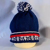 Vintage Hand Knitted Red, White, and Blue Hat