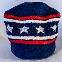Vintage Hand Knitted Red, white, and Blue Striped Hat