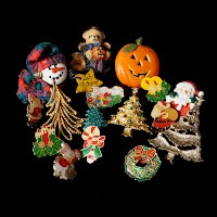 Antique and Vintage Holiday Pins, Antique and Vintage Jewelry