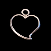 vintage tiny heart metal charm
