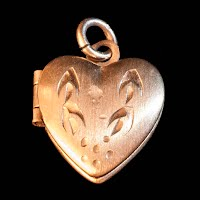 vintage heart metal locket charm