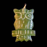 vintage Green owl stone  charm
