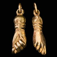 Antique Gold Hand or Figa Fist Charm or Watch Fob