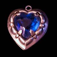 Vintage Heart blue stone gold charm