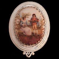Antique Metal and Porcelain Dress Clip