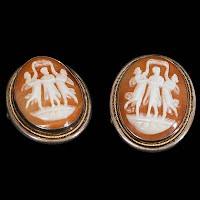 Vintage Sterling Cameo 3 Graces Earrings