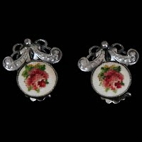 Vintage Sterling and Needlepoint Rose Earrings