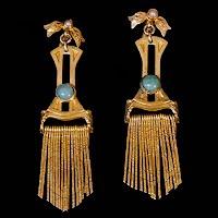 Vintage Metal Egyptian Earrings with pearls