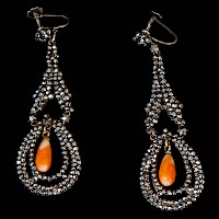 Vintage Marcasite Earrings with coral beads