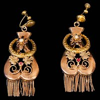 Vintage Metal Earrings with pearls and stones