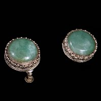 Vintage Chinese Jade and Silver Earrings