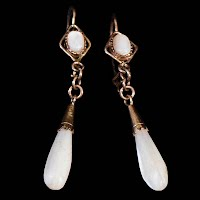 Vintage Dangle Earrings with white stones