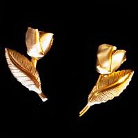 Vintage Gold Rose  Earrings