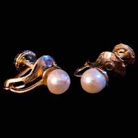 Vintage Faux Pearl Gold Earrings