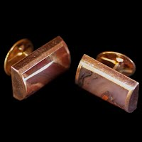 Antique Cuff Links, Gold and Stone, Handcrafted