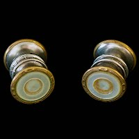 Antique Snap Link Mother of Pearl, Silver and Gold Cuff Links