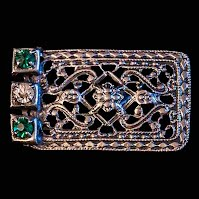 Antique Belt Buckle, Filigree and Rhinestone Belt Buckle