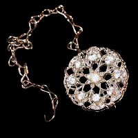 Antique Rhinestone Pin with hook chain