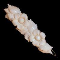 Vintage hand carved bone hair clip