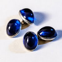 Antique Cobalt Blue with Sterling Silver Cuff Links