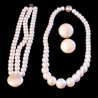 Vintage Faux Pearls Necklace, Earrings, and Bracelet