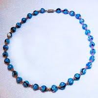 Vintage Blue Muranol Bead Necklace