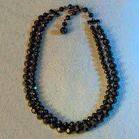 Antique Jet Crystal Bead Necklace