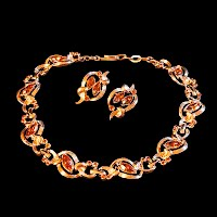 Vintage Necklace, Kramer, gold and amber