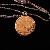 Vintage Bird and Flowers Engraved Locket Necklace