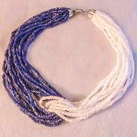 Vintage Blue and White Bead Necklace