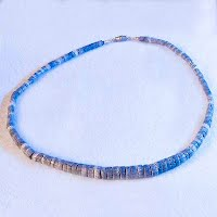 Vintage Blue Shell Necklace