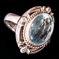Vintage Whiting and Davis blue cabochon ring