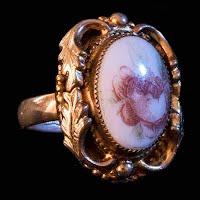 Vintage Ring, Rose Cameo Whiting Davis Ring
