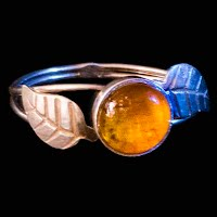 Vintage Handcrafted Amber and Silver Ring