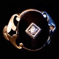 Vintage Onyx with Diamond 12K Ring