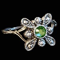 Vintage Green and Silver Ring
