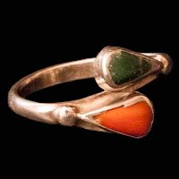 Vintage Handcrafted Turquoise and Coral Silver Ring